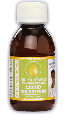 Dr. Murray's Liquid Colostrum cold-filtered liquid bovine colostrum has a faster absorption rate than colostrum in capsule form.