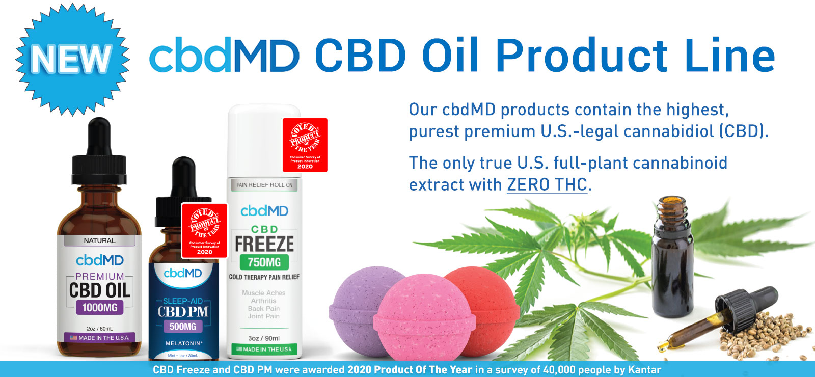 Dr. Murray's Online now offers a cbdMD line of products made from CBD Oil. Cannabidiol, more commonly known as CBD, is a compound extracted from United States' hemp containing significant beneficial properties.