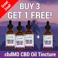 Buy 3 Get 1 Free - cbdMD CBD Oil Tincture Drops - 60 ml – 1000mg – Flavor: Natural